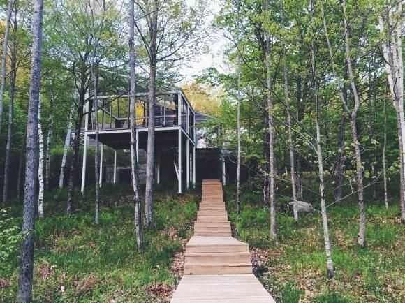 The home overlooks the pond at the foot of Moose Mountain.