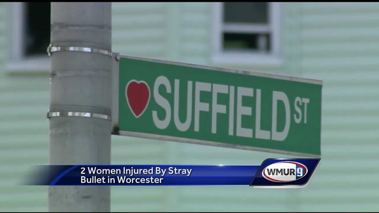 Two women were hit by a stray bullet in a Worcester shooting.