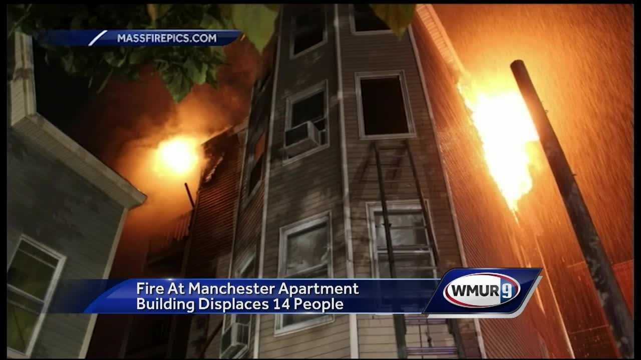 A fire in Manchester displaced four families Saturday night.