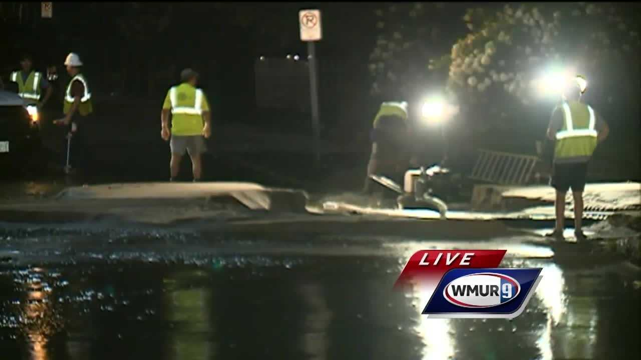 Crews were on the scene Wednesday night of a water main break in Manchester.