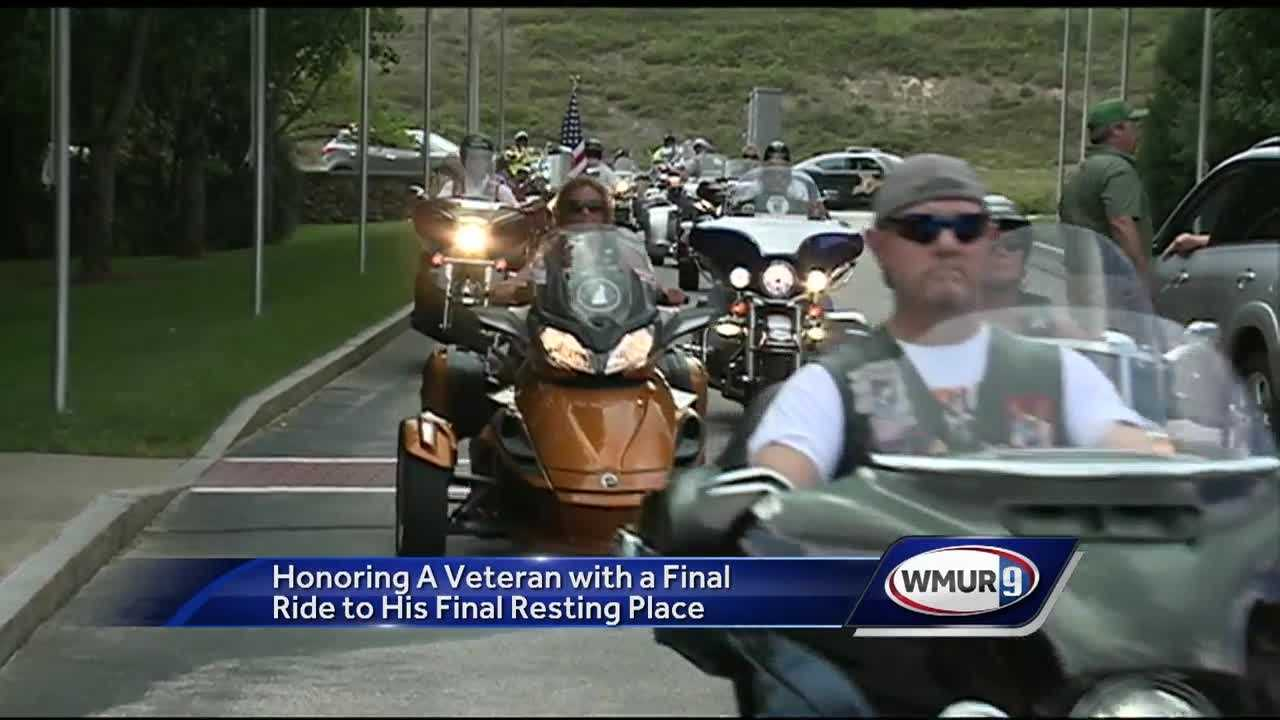 A Vietnam veteran and lifelong motorcycle enthusiast was given a ride Friday to his final resting place as a gift from his son and dozens of fellow motorcyclists.