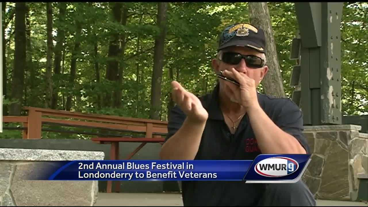 A man is organizing and playing in the 2nd annual blues festival in Londonderry to benefit veterans in need.