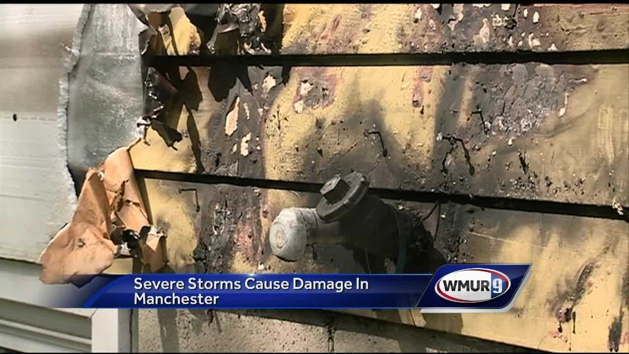 Several people in Manchester are making repairs to damage caused by the storm.