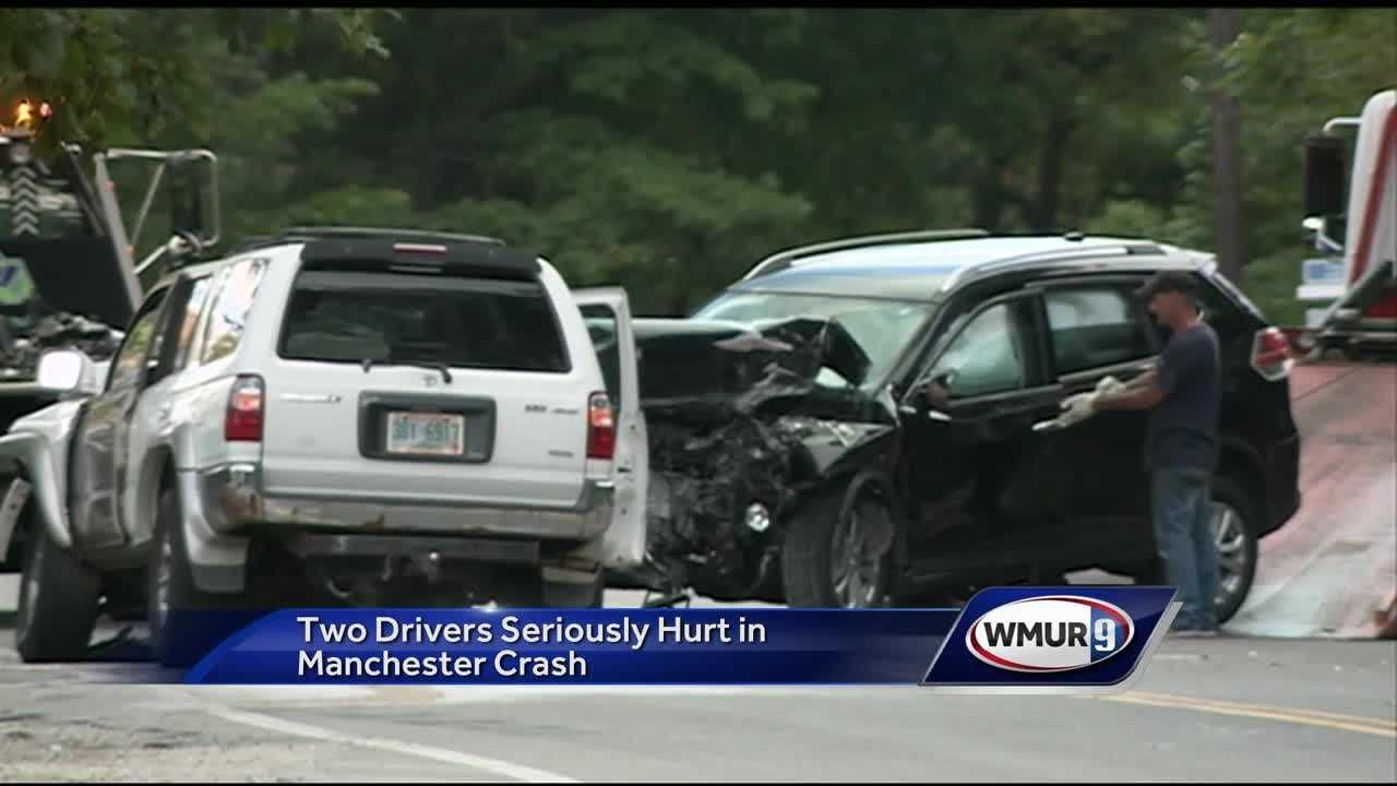 Two drivers were seriously hurt Monday after a crash in Manchester.