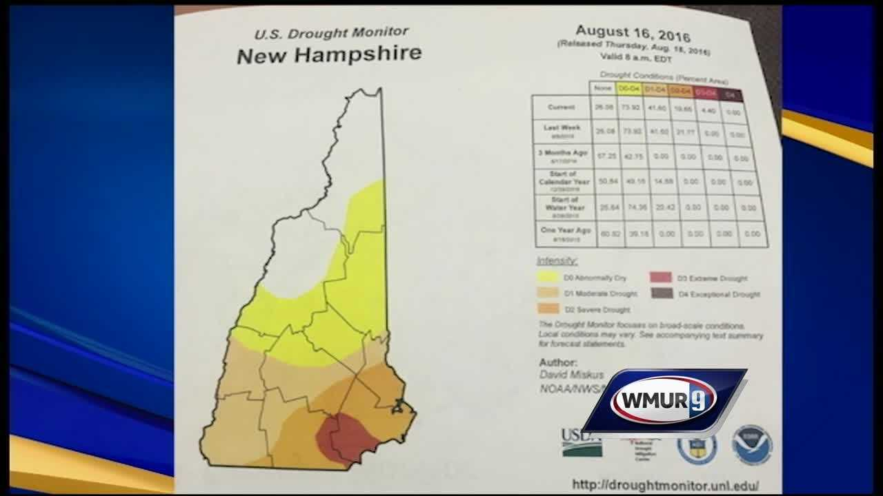 Areas of southeastern New Hampshire were declared to be in an extreme drought Thursday morning after the latest National Drought Monitor report was issued.