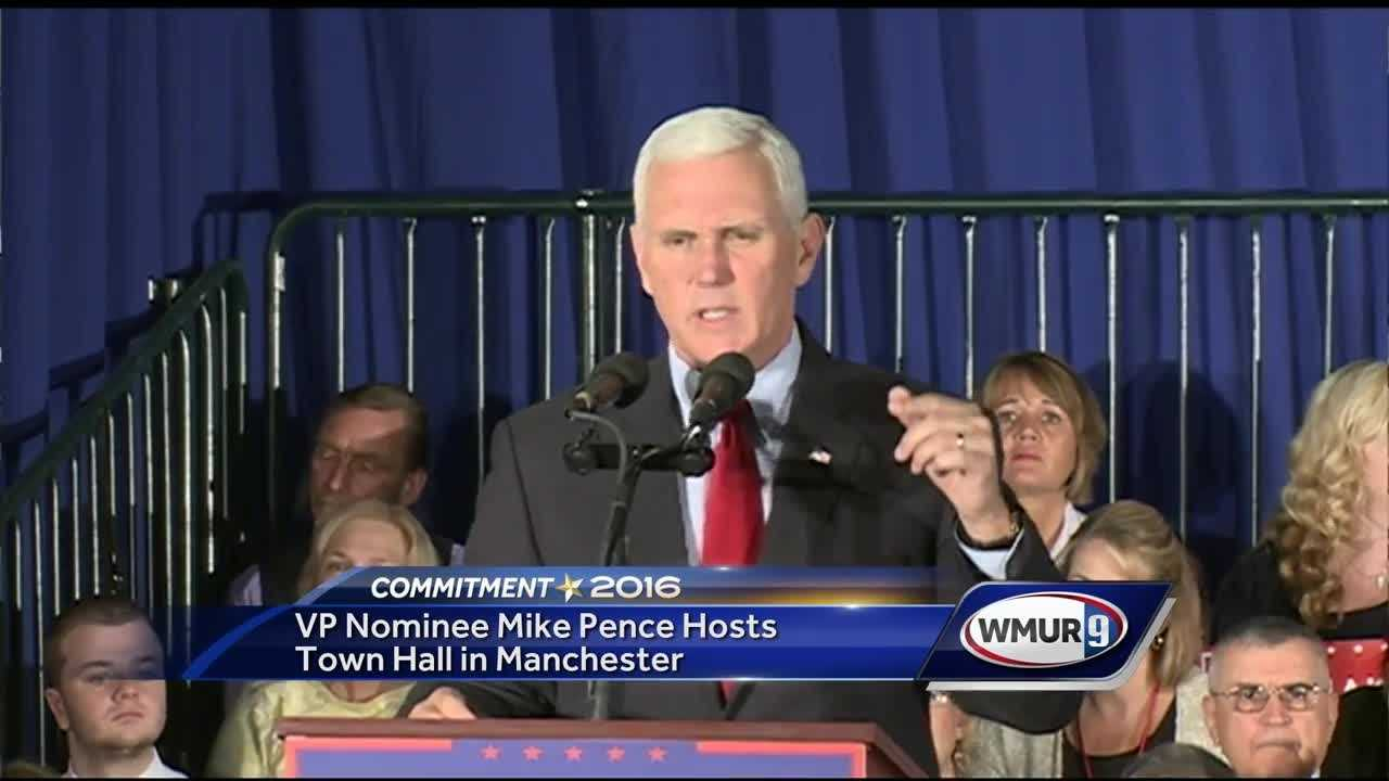 On his first trip to New Hampshire as Republican presidential candidate Donald Trump's running mate, Indiana Gov. Mike Pence drew a large crowd for a town hall event in Manchester.