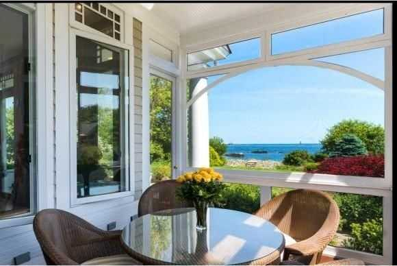 A breathtaking view of the ocean from the home's porch.