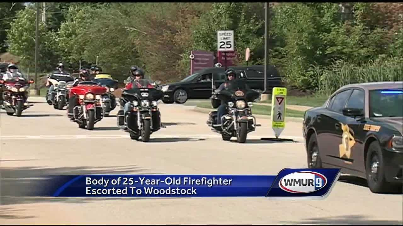 The body of a Lincoln fire fighter who died in a car accident was escorted from the Concord Hospital to a funeral home in Woodstock.