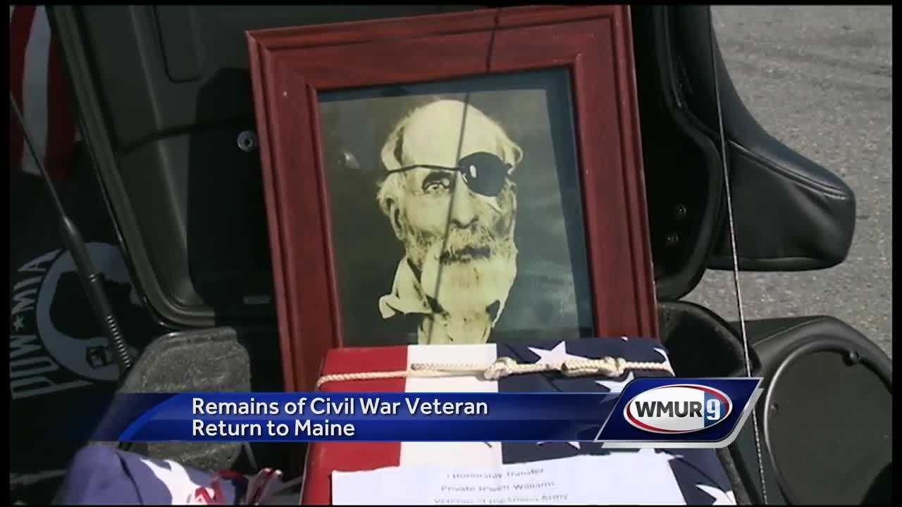 The remains of a civil war veteran from Maine was returned home after being stored at an Oregon hospital for almost 100 years.