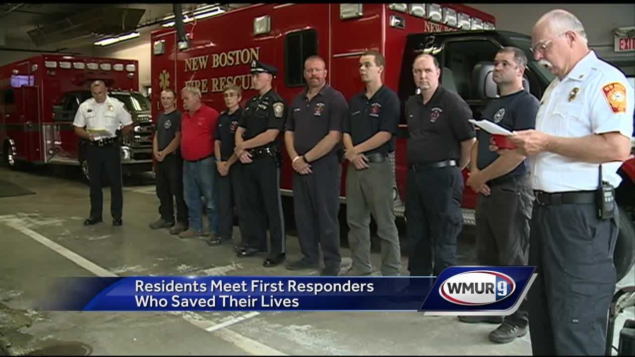 The jobs of first responders are not ones that involve a lot of thanks, but that's exactly what police officers and firefighters in New Boston received Wednesday night.
