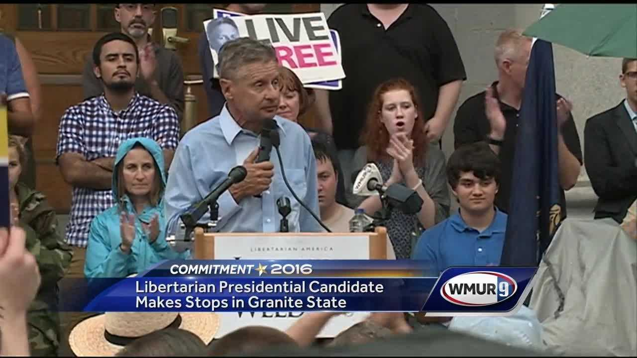 Liberatian presidential candidate Gary Johnson spoke at the State House in Concord on Thursday.