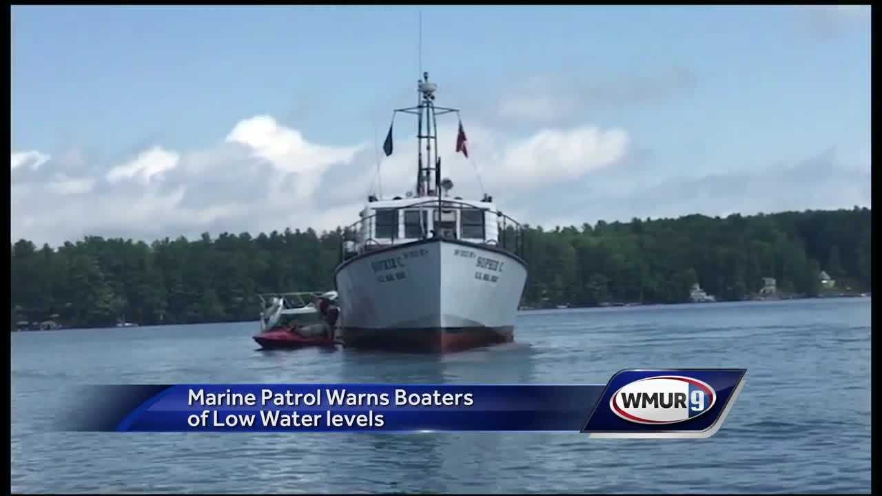 Marine Patrol is warning boaters of low water levels after a cruise ship on Lake Sunapee and mail boat on Winnipesaukee both got stock.