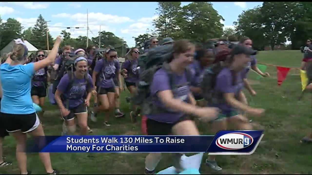 A group of Saint Anselm students are back in Manchester after they walked more than 130 miles in eight days.