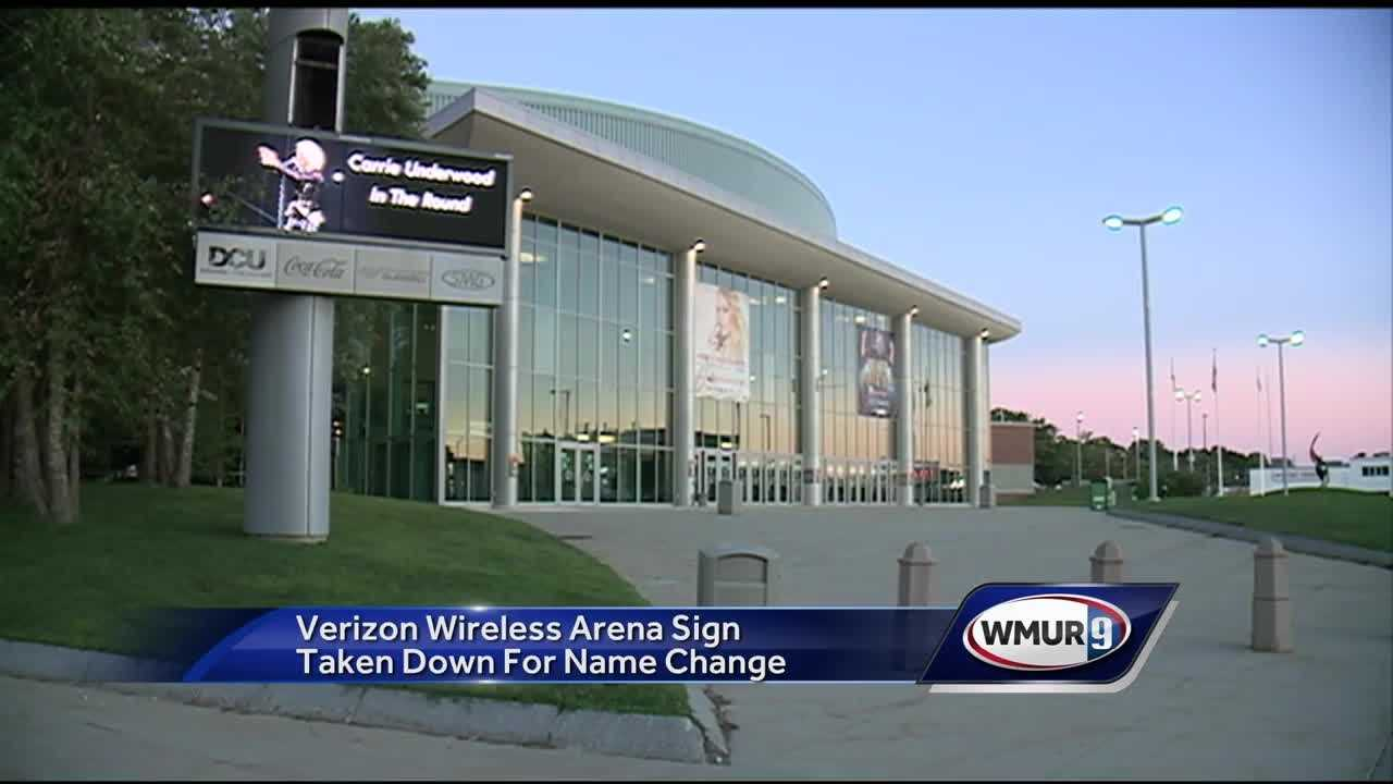 The Verizon Wireless Arena sign has been taken down in downtown Manchester.
