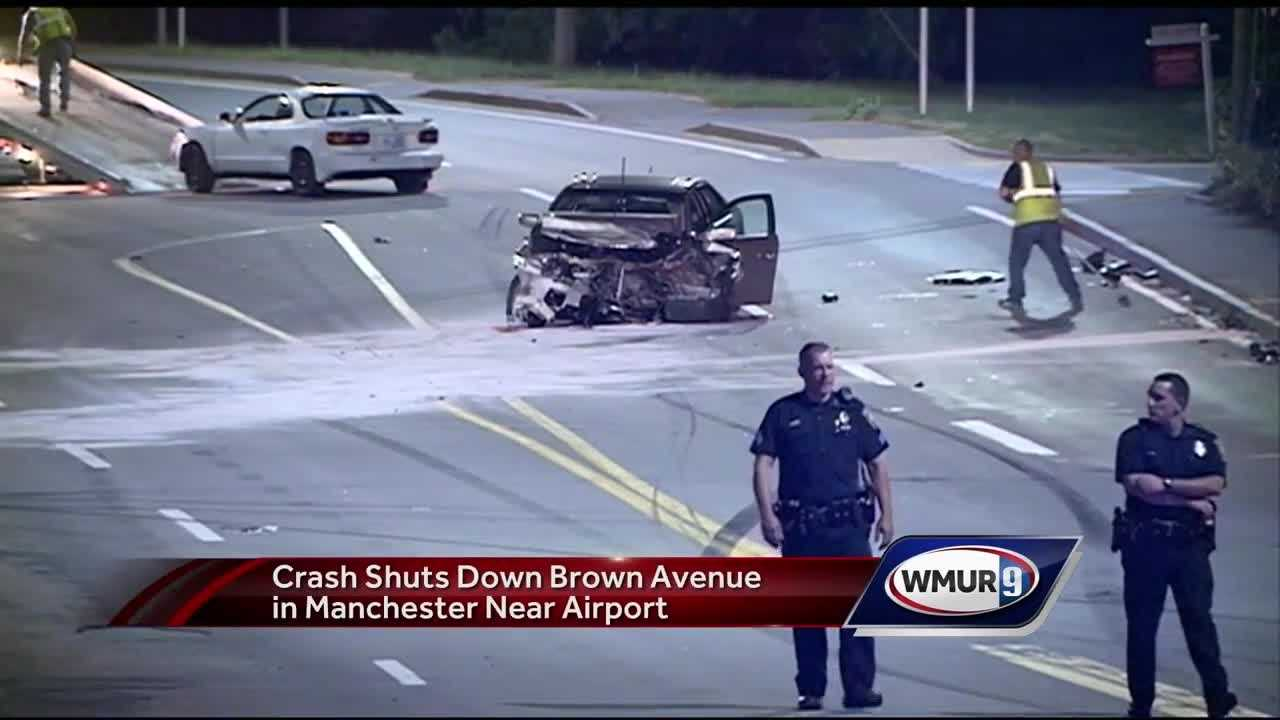 A crash shut down a portion of Brown Avenue near Coldwell Street, between Interstate 293 and Manchester-Boston Regional Airport, Monday night.