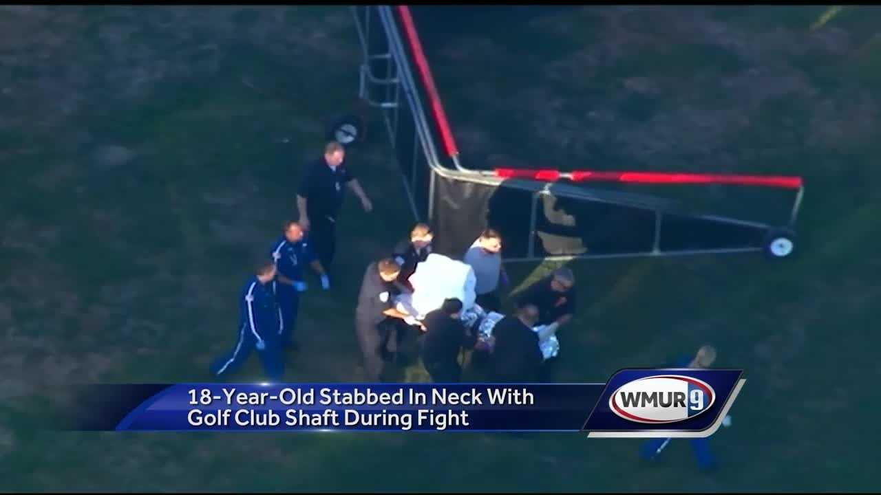 An 18-year-old suffered life-threatening injuries Tuesday evening after he was stabbed in the neck with a golf club shaft during a fight inside Breakheart Reservation in Wakefield, state police say.