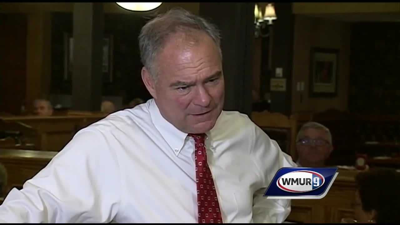 Democratic vice presidential nominee Tim Kaine visited New Hampshire on Thursday along with his wife, Anne Holton.