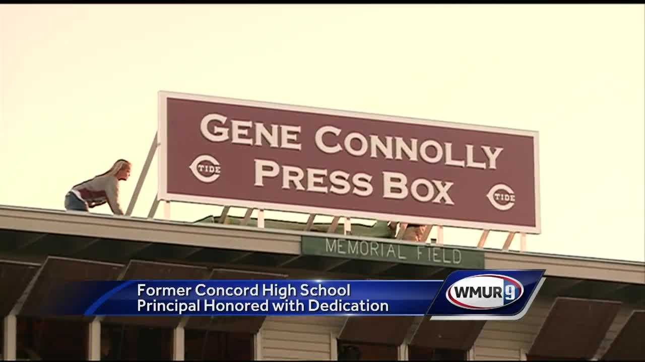 Gene Connolly retired as principal of Concord High School at the end of this past school year, two years after he was diagnosed with ALS. Friday night the press box at Memorial Field was dedicated to him.