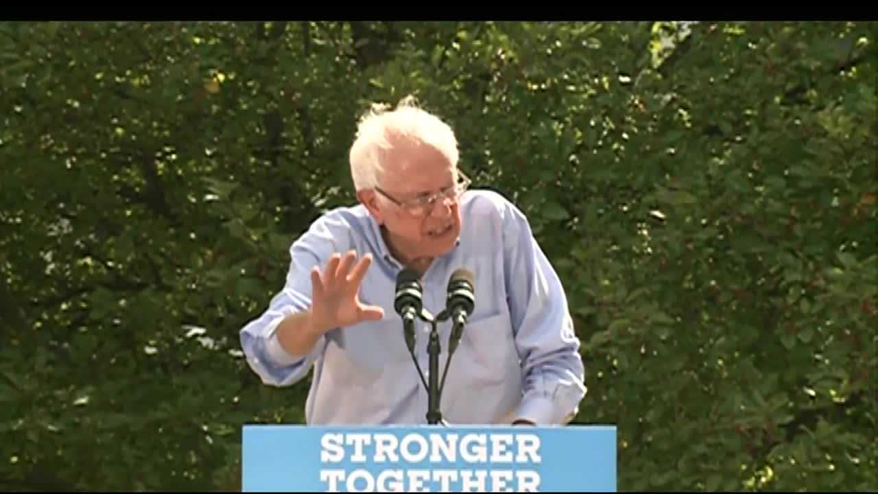 Vermont Sen. Bernie Sanders campaigned in New Hampshire for Hillary Clinton on Monday. He spoke about her economic plan at Lebanon High School on Monday afternoon.
