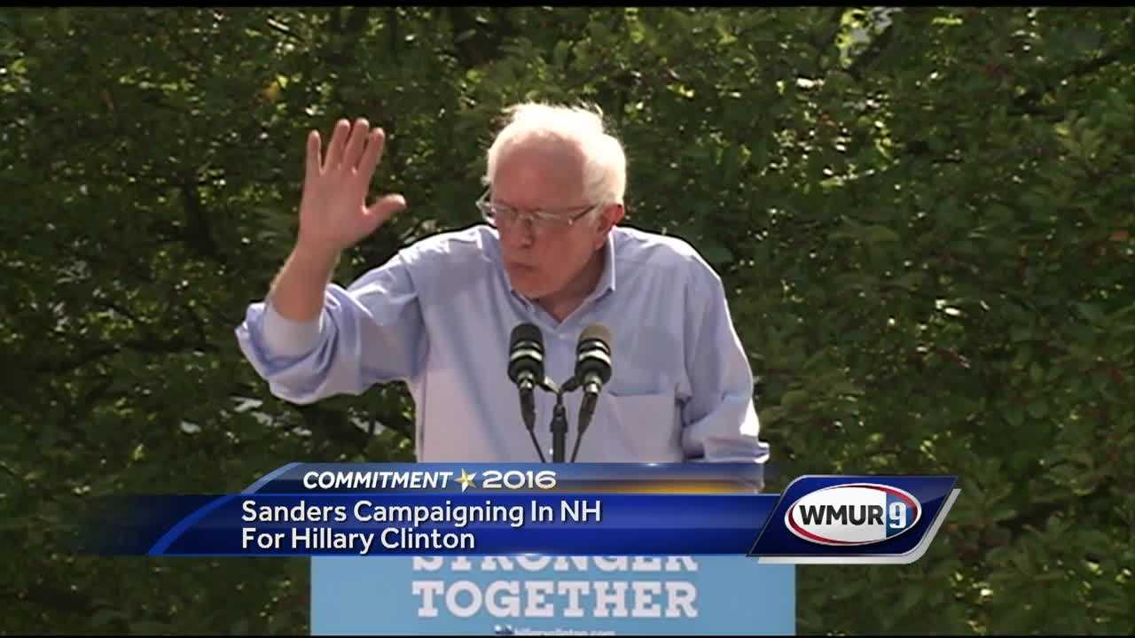 Vermont senator and former presidential candidate Bernie Sanders campaigns in New Hampshire on behalf of Hillary Clinton
