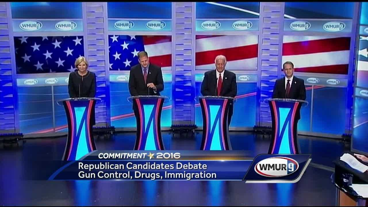 The Republican gubernatorial candidates clashed at times in a debate Tuesday night on WMUR, with one week to go before the primary.