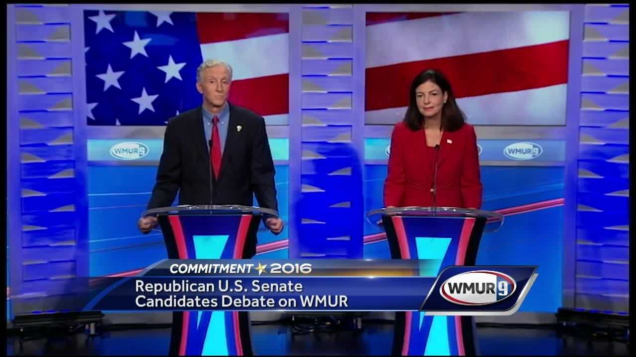 U.S. Sen. Kelly Ayotte tried to portray herself as someone who can work across the aisle to get things done while her opponent, former state Sen. Jim Rubens, said that he was the true conservative in the race during a debate Wednesday.