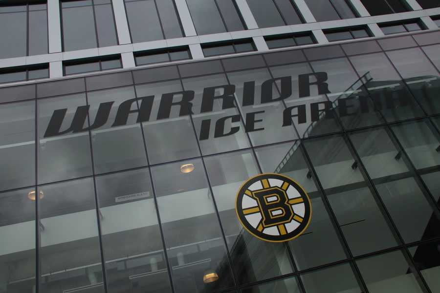 Exterior of the new Warrior Ice Arena, which opened to the public for the first time on Thursday.