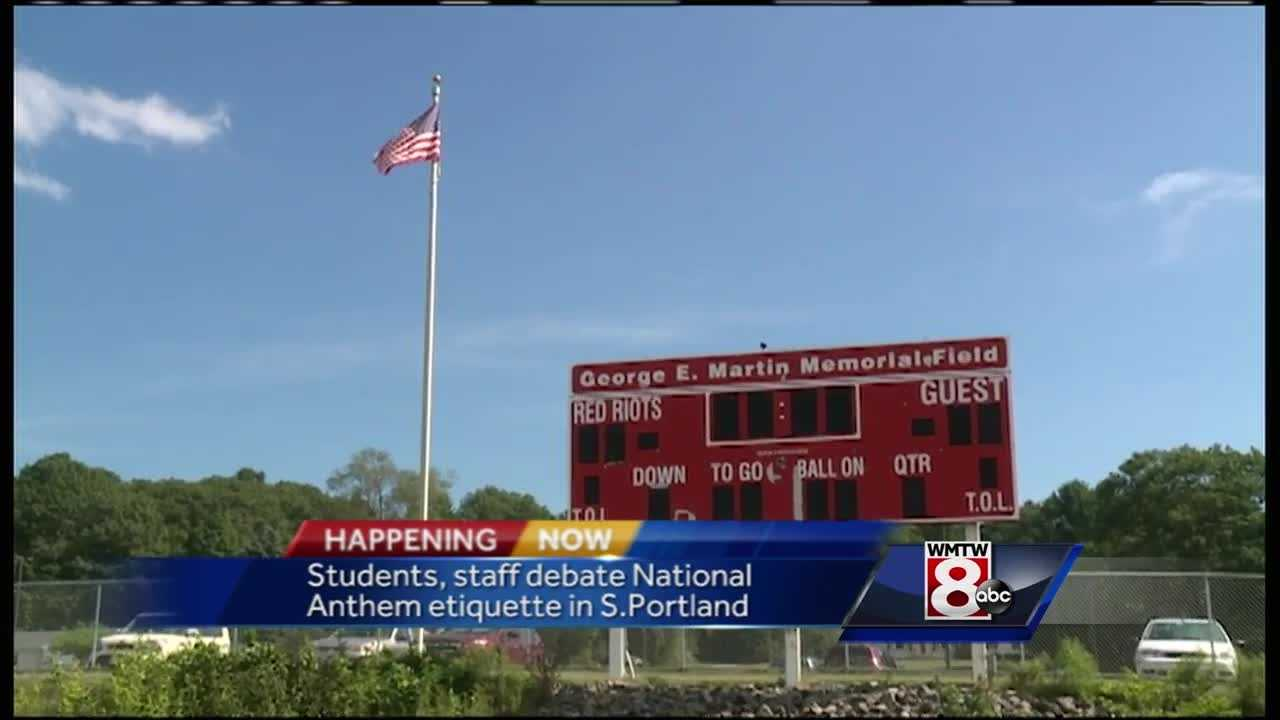 The South Portland superintendent spoke after several tweets about the school code for athletes and the national anthem, raised discussions among students and staff.