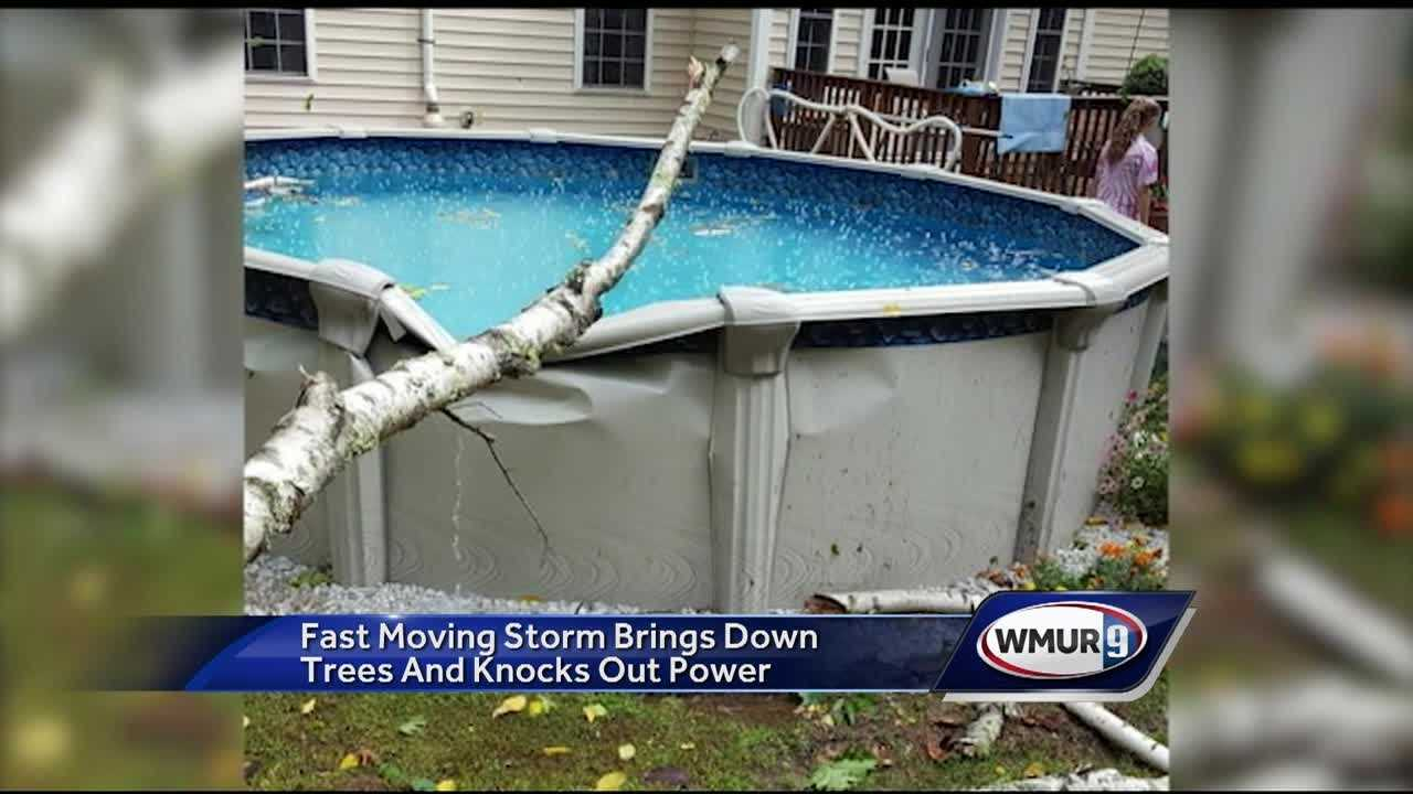 A strong line of sever thunderstorms passed through New Hampshire Sunday morning causing extensive damage and knocking out power for over 20,000 people.