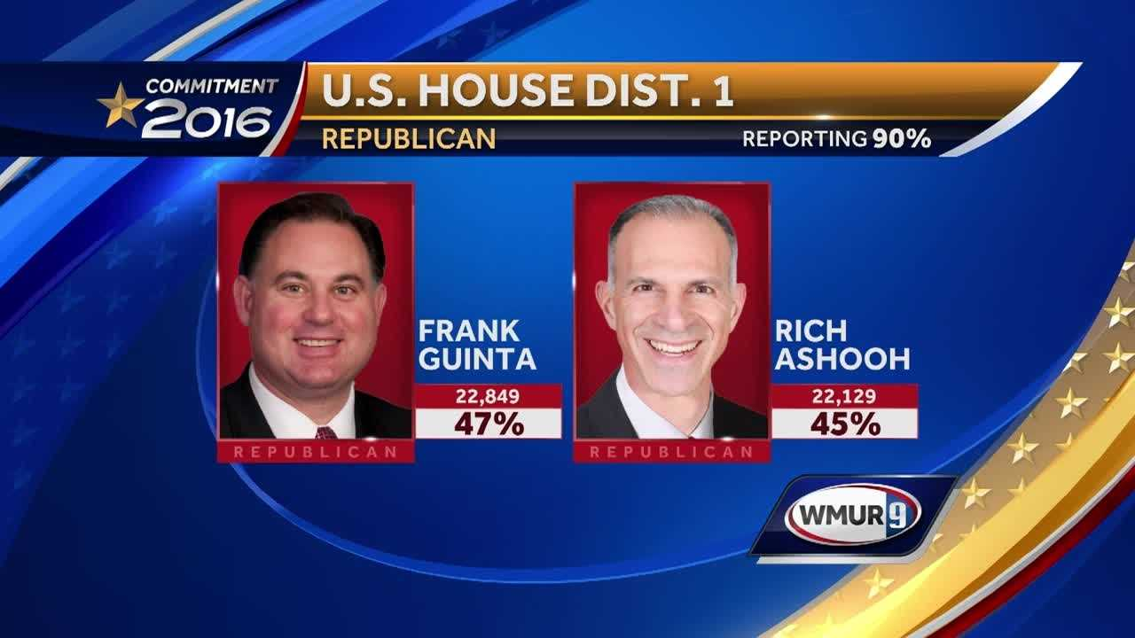 Republicans Frank Guinta and Rich Ashooh are locked in a tight race in the Republican 1st CD primary.