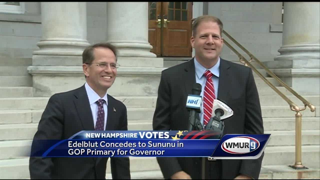At a joint news conference in front of the State House, state Rep. Frank Edelblut Wednesday afternoon conceded the Republican gubernatorial primary race to Executive Councilor Chris Sununu.