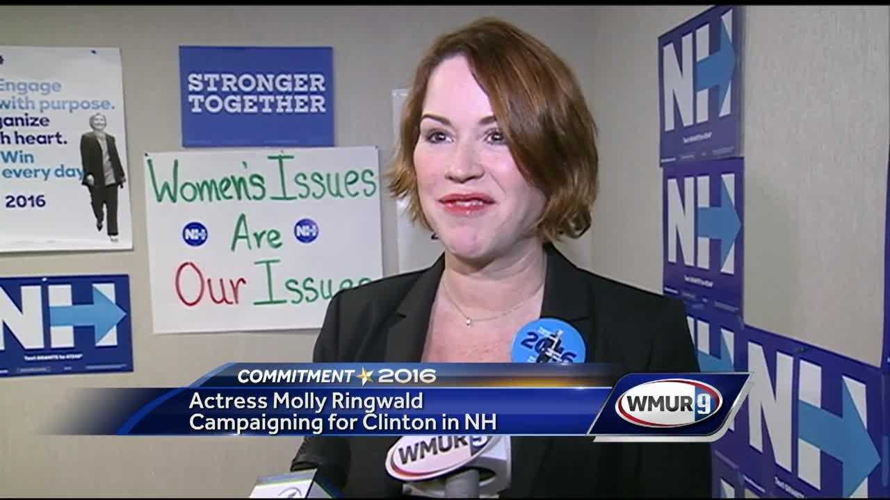 Actress Molly Ringwald was in the Granite State Wednesday, campaigning on behalf of Hillary Clinton.