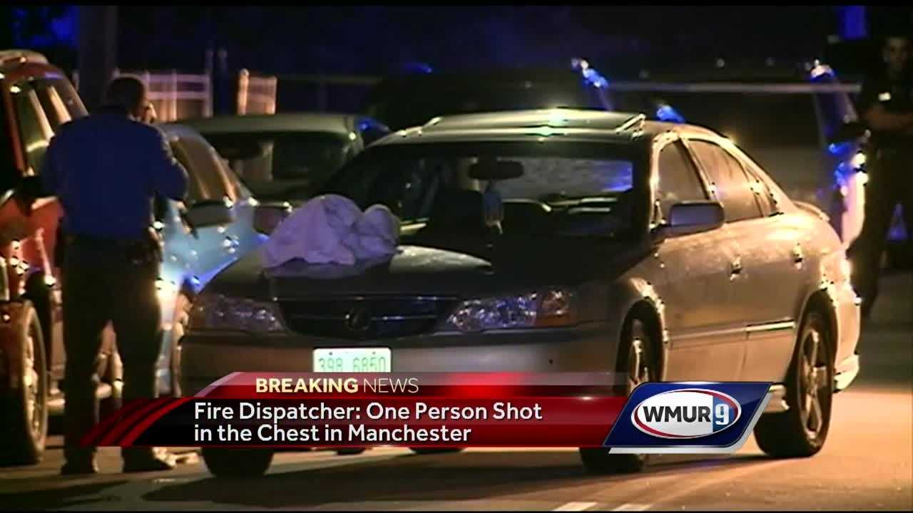 A person was shot in the chest at the intersection of Beech and Merrimack streets in Manchester shortly before 7 p.m., officials confirm.
