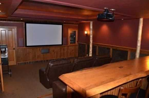 The home has a private theater.