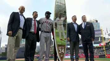 The San Diego Padres gifted Ortiz with a customized surfboard to ride the wave into retirement.