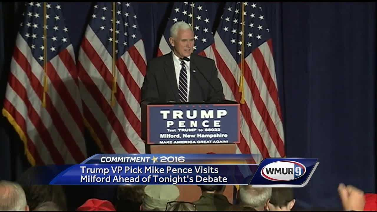 Republican vice presidential nominee Mike Pence spoke to Donald Trump supporters in New Hampshire on Monday, hours before Trump and Democratic presidential nominee Hillary Clinton were set to debate.