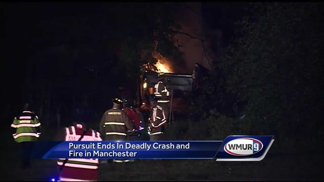 A man was killed Tuesday morning in a fiery crash after a police chase from Salem to Manchester.
