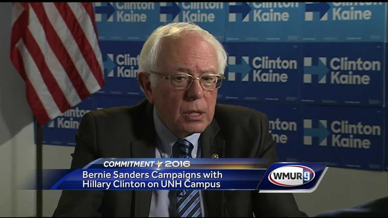 Vermont Sen. Bernie Sanders continued to show his support for Democratic presidential candidate Hillary Clinton on Wednesday, appearing with Clinton at an event at the University of New Hampshire.