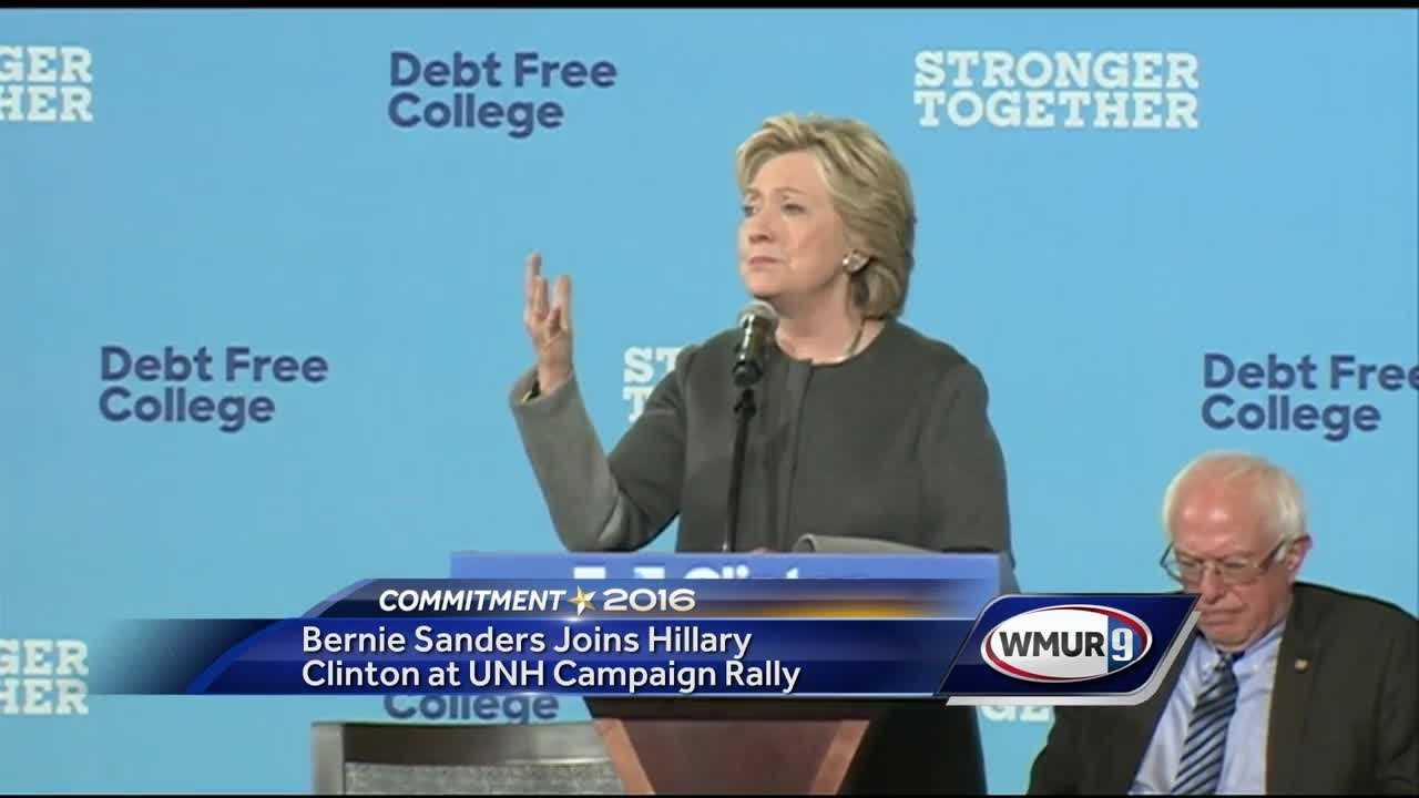 Hillary Clinton and Bernie Sanders filled the University of New Hampshire Field House on Wednesday to push for Clinton's plan to make college more affordable.