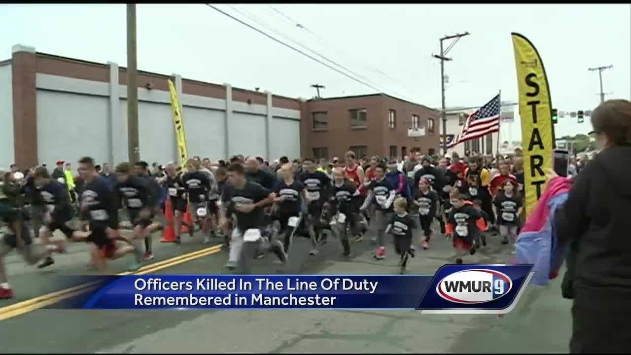 Police officers killed in the line of duty were remembered Sunday at the 10th-annual Footrace for the Fallen in Manchester.