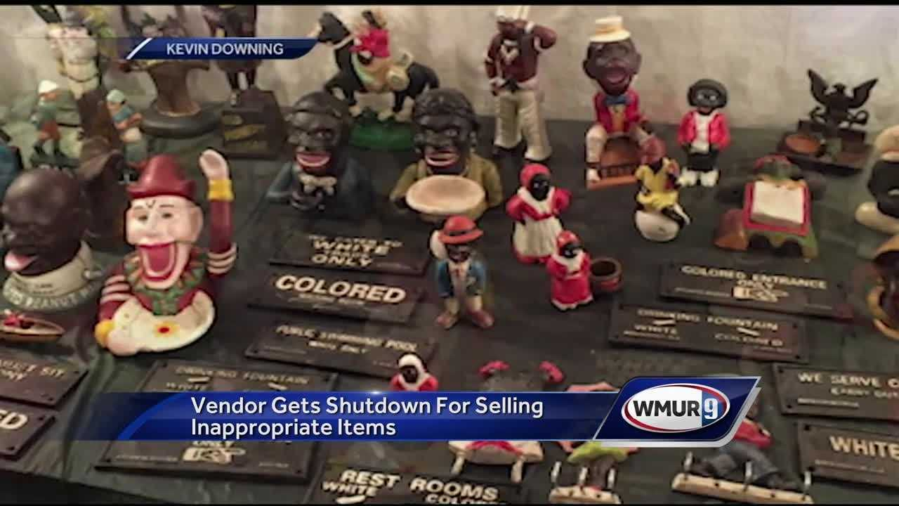 The Deerfield Fair shut down one vendor after they were discovered selling offensive products on Sunday, officials said.