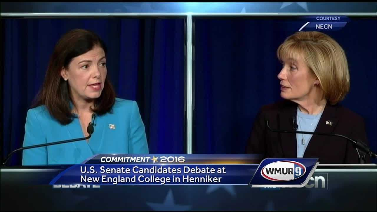 Sen. Kelly Ayotte and Gov. Maggie Hassan, seen here at a recent debate, are issuing charges and counter-charges in the wake of the latest blockbuster develoments related to the Hillary Clinton email issue.