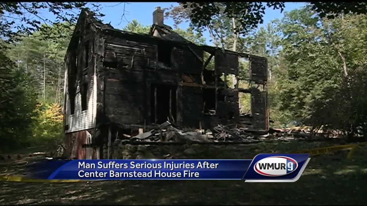 A man was seriously injured Monday night in a three-alarm fire that destroyed a home in Barnstead.