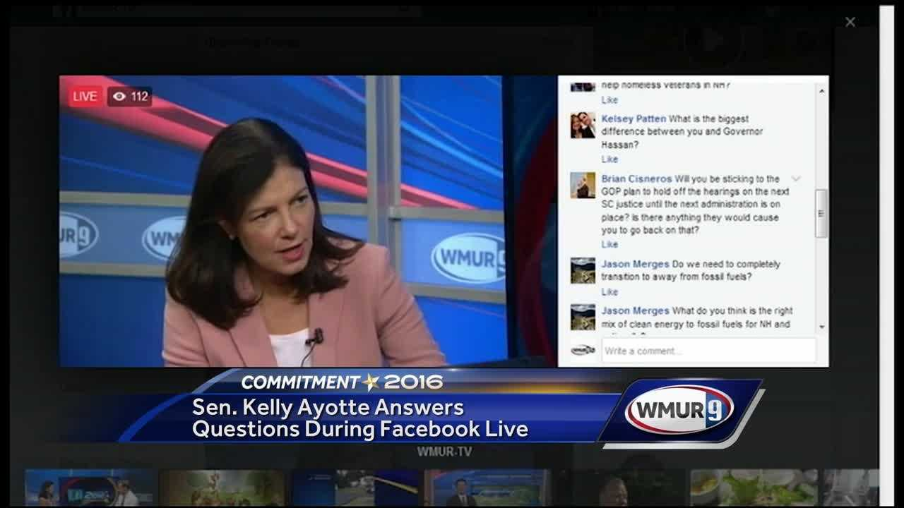 U.S. Sen. Kelly Ayotte answered questions Wednesday from voters in a live Facebook chat.