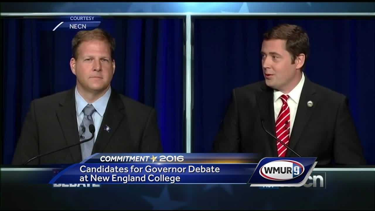 The candidates for governor squared off in a debate at New England College in Henniker Wednesday night.