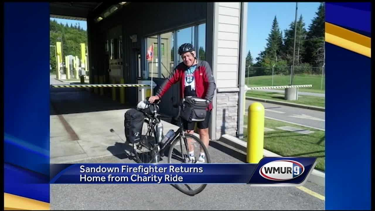 A 68-year-old Sandown man was welcomed home Wednesday night after completing a 2,700-mile bike ride to raise money for the veterans group Ride 2 Recovery.