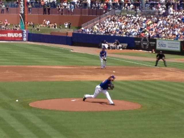 This Mets pitcher tosses his first pitch to a Yankees batter at Digital Domain Park since 1996. (Angela Rozier/WPBF)