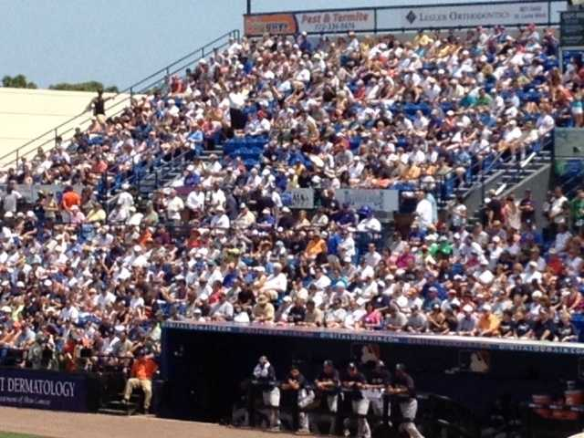 A record 7,644 fans were in attendance to watch a renewal of the Subway Series. (Angela Rozier/WPBF)