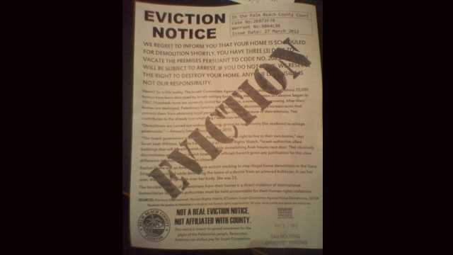 This is one of the mock eviction notices posted by FAU's Students for Justice in Palestine. (Terri Parker/WPBF)