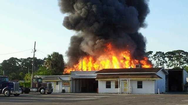 A fire destroyed this thrift store in Fort Pierce. (Courtesy: Fort Pierce Police Department)